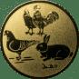 Emblem 25mm Hahn, Henne, Taube, Hase, gold