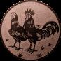 Emblem 50mm Hahn und Henne, bronze