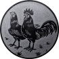Emblem 50mm Hahn und Henne, silber