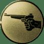 Emblem 50mm Hand mit Pistole, gold schießen