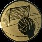 Emblem 25mm Handball mit Tor, gold