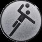 Emblem 50mm Handball Symbol, silber