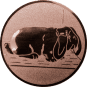 Emblem 50mm Hase mit Schlappohren, bronze