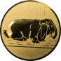 Emblem 50mm Hase mit Schlappohren, gold