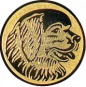 Emblem 50mm Hundekopf, gold