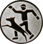 Emblem 50mm Hundesport mit Führer, silber