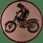 Emblem 50mm Motorrad mit stehendem Fahrer, bronze
