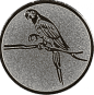 Emblem 50mm Papagei, silber