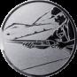 Emblem 50mm Schütze m. Schrotflinte, silber schießen