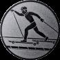 Emblem 50mm Skifahrer in Hocke, silber