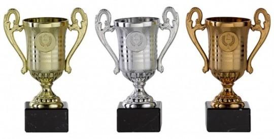 Pokale mit Henkel 3er Serie S146 15cm gold