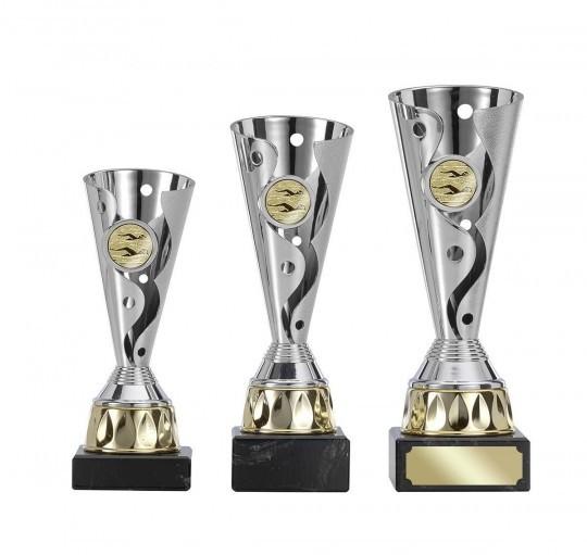 Pokale 3er Serie S402 silber/gold 18cm