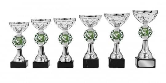 Pokale 6er Serie S136 silber/grün 15 cm