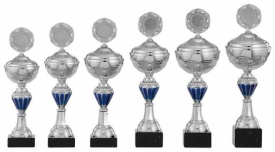 Pokale 6er Serie S143 silber/blau mit Deckel 26 cm