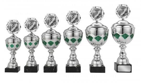 Pokale 6er Serie S422 silber/grün 25cm