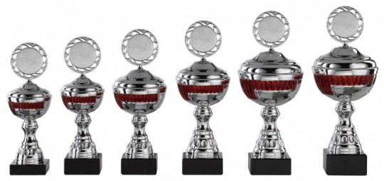 Pokale 6er Serie S458 silber/rot mit Deckel 24 cm