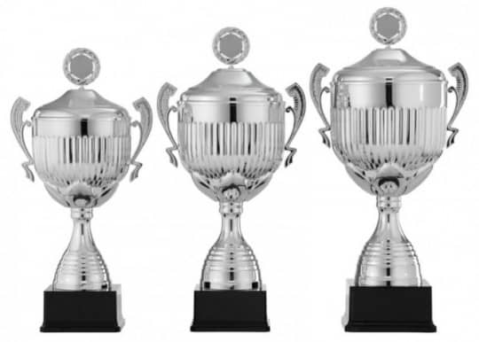Pokale mit Henkel 3er Serie S962 silber mit Deckel 62 cm