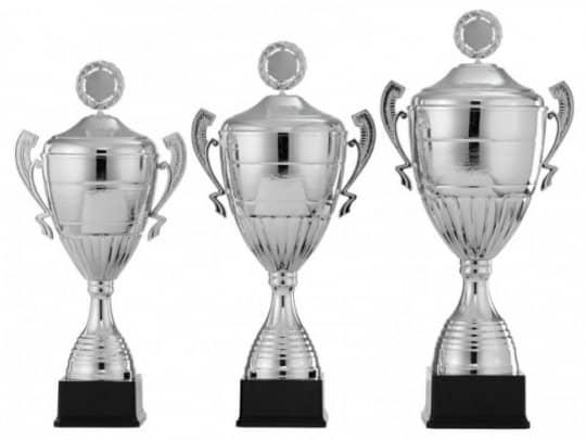 Pokale mit Henkel 3er Serie S963 silber mit Deckel 61 cm