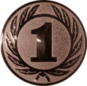 Emblem 50 mm Ehrenkranz mit 1, bronze
