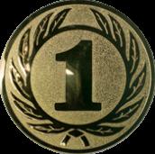 Emblem 50 mm Ehrenkranz mit 1, gold