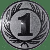 Emblem 50 mm Ehrenkranz mit 1, silber