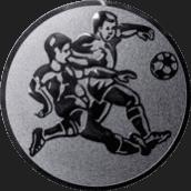 Emblem 25mm 2 Fußballspieler m. Bal, silber