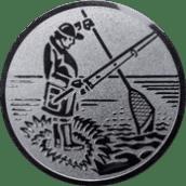 Emblem 25mm Angler m. Angel u. Kescher, silber
