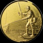 Emblem 25mm Angler mit Kescher links 3D, gold