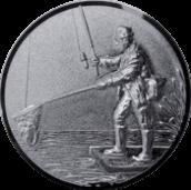 Emblem 25mm Angler mit Kescher links 3D, silber