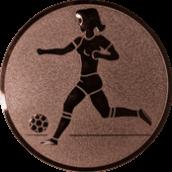 Emblem 25mm Fußballspielerin m. Ball, bronze
