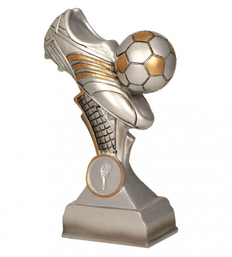 Fußballschuh mit Ball 5er Serie TRY-RP300 silber gold 16 cm