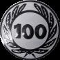 Emblem 25 mm Ehrenkranz mit 100, silber