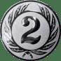 Emblem 25 mm Ehrenkranz mit 2, silber