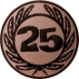 Emblem 25 mm Ehrenkranz mit 25, bronze