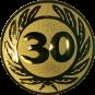 Emblem 25 mm Ehrenkranz mit 30, gold