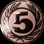 Emblem 25 mm Ehrenkranz mit 5, bronze