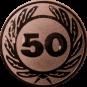 Emblem 25 mm Ehrenkranz mit 50, bronze