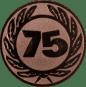 Emblem 25 mm Ehrenkranz mit 75, bronze
