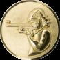 Emblem 25mm Schützin m. Gewehr 3D, gold schießen