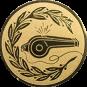 Emblem 25mm Trillerpfeife m. Kranz, gold