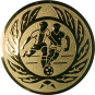 Emblem 50mm 2 Fußballer m. Ehrenkranz, gold