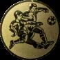 Emblem 50mm 2 Fußballspieler m. Ball, gold