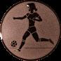 Emblem 50mm Fußballspielerin m. Ball, bronze