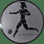 Emblem 50mm Fußballspielerin m. Ball, silber