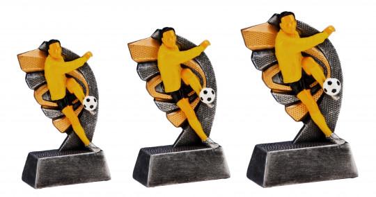 Fußballpokale 3er Serie TRY-RT10 altsilber gold 13cm