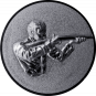 Emblem 50mm Gewehrschütze rechts 3D, silber schießen