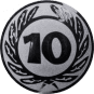 Emblem 25 mm Ehrenkranz mit 10, silber