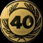 Emblem 25 mm Ehrenkranz mit 40, gold