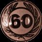 Emblem 25 mm Ehrenkranz mit 60, bronze
