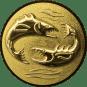 Emblem 25mm 2 Fische 3D, gold
